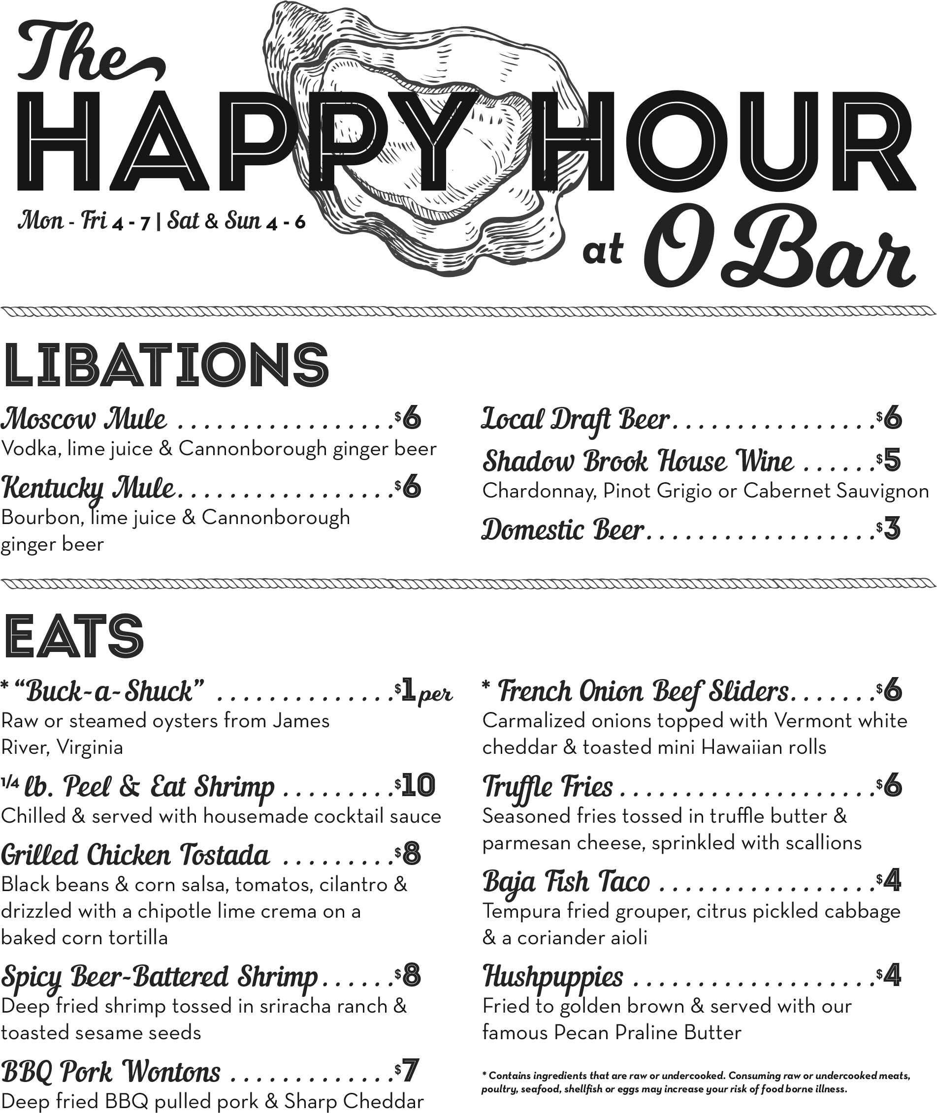 Happy Hour Menu | Oyster House | Charleston SC