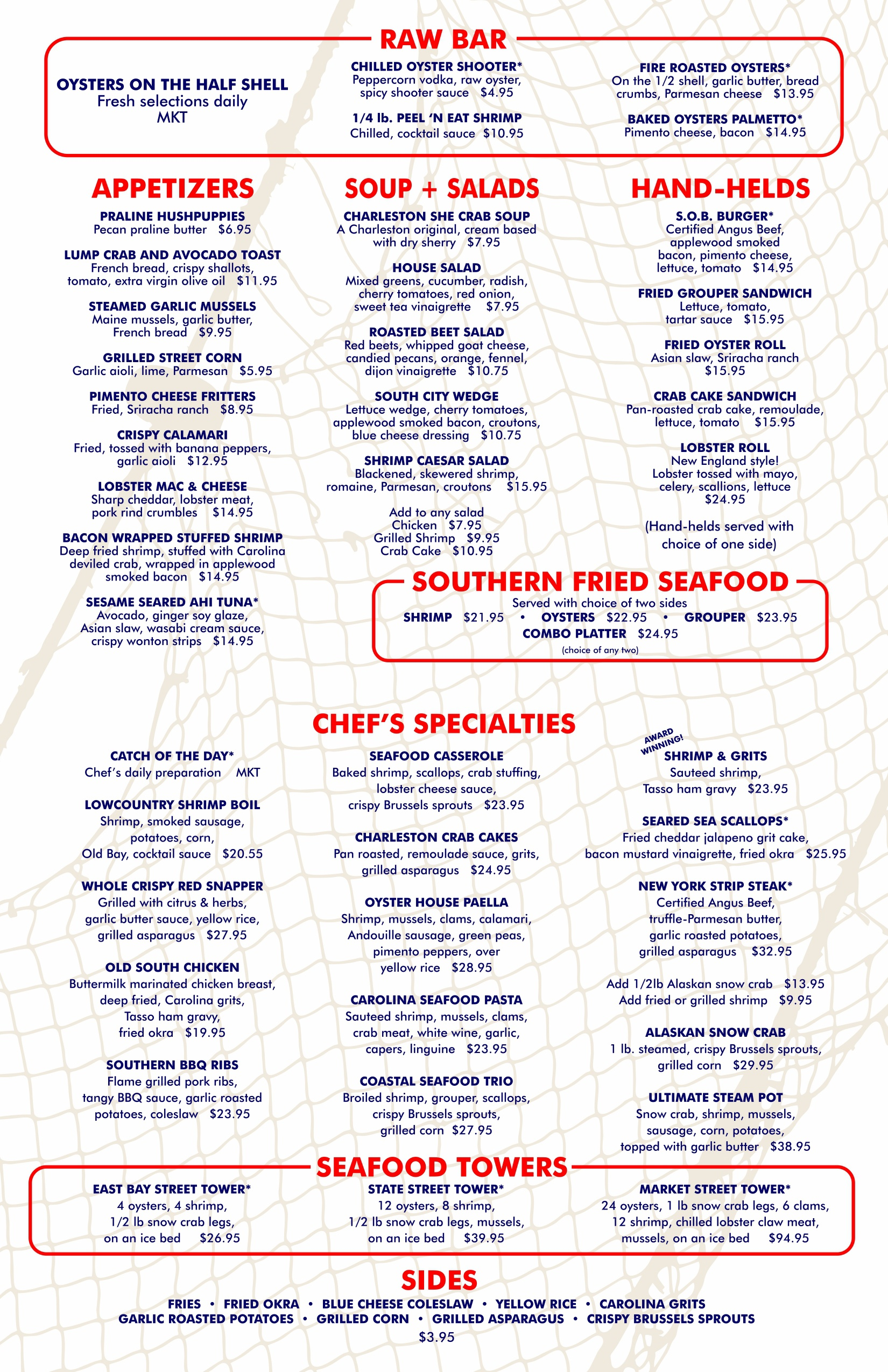 Oyster House Seafood Restaurant Menu